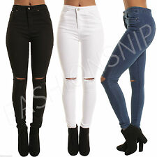 NEW Ladies Women High Waist 5 Pocket Skinny Ripped Knee Jeans Jegging Sizes 6-16