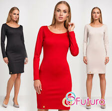 femmes Sexy Cocktail Robe crayon col bateau manches longues Tailles 8-14 fa460
