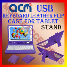 "ACM-USB KEYBOARD PURPLE 10"" CASE for IBALL Q9703 TABLET LEATHER COVER STAND NEW"