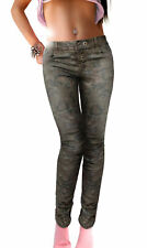 Damen Hose Camouflage Blumen Muster stretch Safari Army Military Grün Oliv Chino