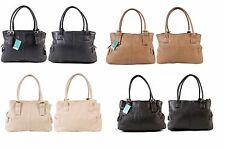 New Ladies Quality Shoulder Handbag Leather Style Look Bag 3 Compartments