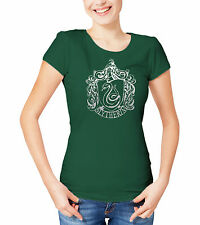 Harry Potter Slytherin ladies T-Shirt bottle green with silver crest.