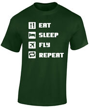 PILOT, AVIATION, FLYING T SHIRT - EAT SLEEP FLY REPEAT - GREAT PILOT GIFT