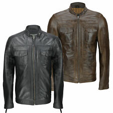 Mens Black Brown Real Leather Retro Smart Casual Zip Biker Style Bomber Jacket