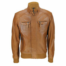 Mens New Tan Brown Real Soft Lamb Leather Retro Biker Style Zipped Bomber Jacket
