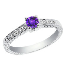 0.37 Ct Round Purple Amethyst 925 Sterling Silver Engagement Ring