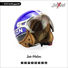 SOXON SP-325 PLUS Blue Jet-Helm Roller-Helm Chopper Motorrad-Helm - XS S M L XL