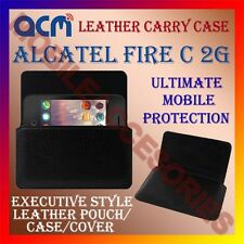 ACM-HORIZONTAL LEATHER CARRY CASE for ALCATEL FIRE C 2G MOBILE POUCH COVER NEW