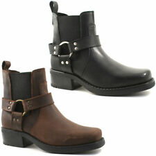 Gringos Cowboy Western Mens Leather Gusset Heeled Low Harley Ankle Boots UK6-12