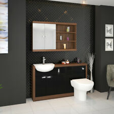 Bathroom Furniture Vanity Cabinet Storage Unit with Toilet and Sink Walnut Black