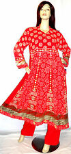 Shalwar Kameez Anarkali Pakistani Designer Red Stitched Sari Abaya Dress Suit 16