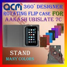 "ACM-DESIGNER ROTATING 360° 7"" COVER CASE STAND for AAKASH UBISLATE 7C TABLET TAB"