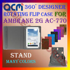 """ACM-DESIGNER ROTATING 360° 7"""" COVER CASE STAND for AMBRANE 2G AC-770 TAB TABLET"""