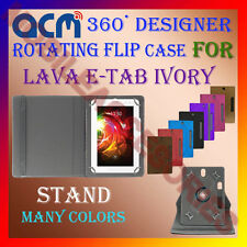 "ACM-DESIGNER ROTATING 360° 7"" COVER CASE STAND for LAVA E-TAB IVORY TABLET TAB"