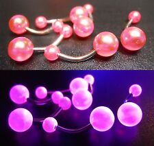 14g 12mm Surgical Steel Curved Belly Bar - UV Acrylic Balls - Choose your style!