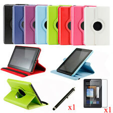 For Amazon Kindle Fire 360 Degree Rotating Leather Case Cover w Stand Acces