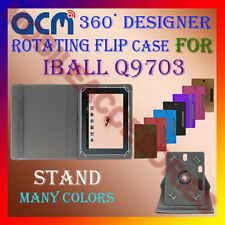 "ACM-DESIGNER ROTATING 360° 10"" COVER CASE STAND for IBALL Q9703 TABLET TAB NEW"