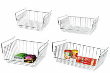 STAINLESS STEEL WHITE UNDER SHELF RACK STORAGE ORGANIZER BASKET KITCHEN BATHROOM