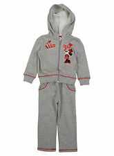 Girls Disney Minnie Mouse Grey Kids Full Jogging Tracksuit Age 3-8