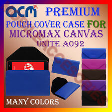 ACM-PREMIUM POUCH LEATHER CARRY CASE for MICROMAX CANVAS UNITE A092 MOBILE COVER