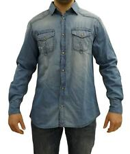 CAMICIA UOMO MANICA LUNGA JEANS BLUE SIDE BY SEA BARRIER ART SCODE