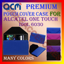ACM-PREMIUM POUCH LEATHER CARRY CASE for ALCATEL ONE TOUCH IDOL 6030 COVER NEW