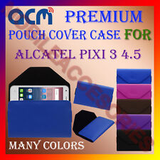 ACM-PREMIUM POUCH LEATHER CARRY CASE for ALCATEL PIXI 3 4.5 MOBILE COVER HOLDER