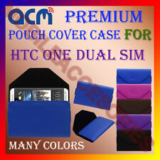 ACM-PREMIUM POUCH LEATHER CARRY CASE for HTC ONE DUAL SIM MOBILE COVER HOLDER