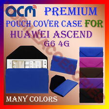 ACM-PREMIUM POUCH LEATHER CARRY CASE for HUAWEI ASCEND G6 4G MOBILE COVER HOLDER