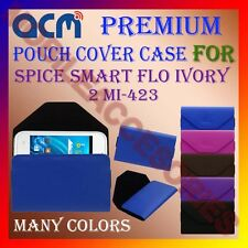 ACM-PREMIUM POUCH LEATHER CARRY CASE for SPICE SMART FLO IVORY 2 MI-423 COVER