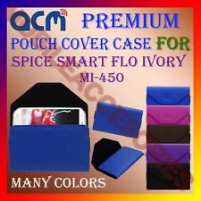 ACM-PREMIUM POUCH LEATHER CARRY CASE for SPICE SMART FLO IVORY MI-450 COVER NEW