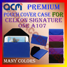 ACM-PREMIUM POUCH LEATHER CARRY CASE for CELKON SIGNATURE ONE A107 MOBILE COVER
