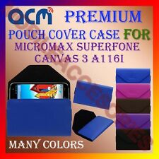 ACM-PREMIUM POUCH LEATHER CARRY CASE for MICROMAX SUPERFONE CANVAS 3 A116I COVER