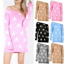 Womens Seeing Star Knitted Oversized Off The Shoulder Ladies Baggy Top Jumper