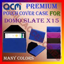ACM-PREMIUM POUCH LEATHER CARRY CASE for DOMO SLATE X15 TABLET TAB COVER HOLDER