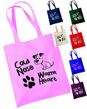 COLD NOSE, WARM HEART Cute Dog Tote Bag, Puppy paw print, Dogs