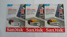 PENDRIVE SANDISK ULTRA FLAIR - 16/32/64GB - USB 3.0 - LECTURA 130MB/s Y 150MB/s