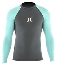HURLEY ONE AND ONLY LS Lycra black/turquoise UV Shirt