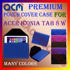 ACM-PREMIUM POUCH LEATHER CARRY CASE for ACER ICONIA TAB 8 W TABLET TAB COVER