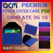 ACM-PREMIUM POUCH LEATHER CARRY CASE for UBISLATE 3G 10 TABLET TAB COVER HOLDER