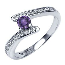 0.79 Ct Round Purple Amethyst 925 Sterling Silver Promise Ring