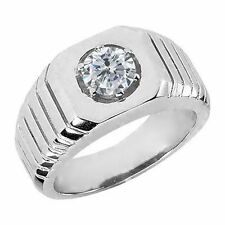 0.50 Ct Round G/H SI2/I1 Diamond 14K White Gold Men's Solitaire Ring