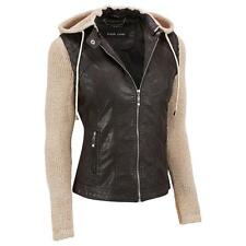 Black Rivet Womens Faux-Leather Jacket W/Removable Knit Sleeves And Hood