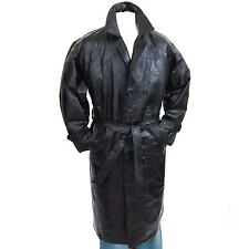Mens Trench Coat Genuine Leather Double Breasted Long Jacket Full Length Bl