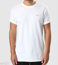 Nike Mens White Short Sleeve T-Shirt Top Embroidered Silver Swoosh S M L XL 2XL