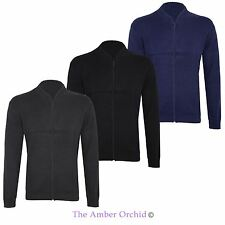 New Mens Knit Sweatshirt Zipped Plain Zip Up Knitted Jumper Cardigan Top