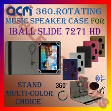 "ACM-PORTABLE MUSIC SPEAKER 360° ROTATING 7"" CASE for IBALL SLIDE 7271 HD TABLET"