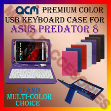"""ACM-USB COLOR KEYBOARD 8"""" CASE for ASUS PREDATOR 8 TABLET LEATHER COVER STAND"""