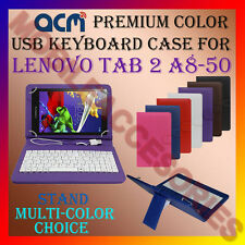 """ACM-USB COLOR KEYBOARD 8"""" CASE for LENOVO TAB 2 A8-50 TABLET LEATHER COVER STAND"""