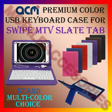 """ACM-USB COLOR KEYBOARD 8"""" CASE for SWIPE MTV SLATE TAB LEATHER COVER STAND NEW"""